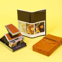 Vintage Polaroid SX-70 Camera Instant Photo Retro Hipster / Brushed Chrome Leather w/ Case and Manual
