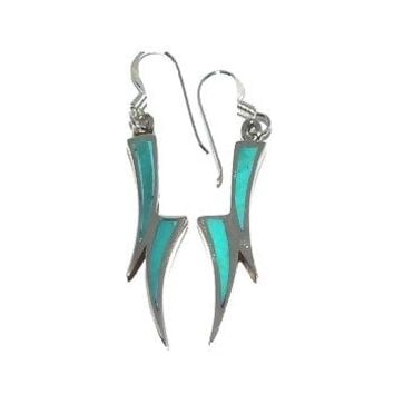 Sterling Silver Turquoise Inlay Double Horn Dangle Earrings