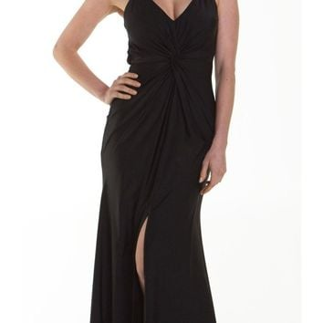 ON SPECIAL LIMITED STOCK - Long Fitted Stretch Black Semi Formal Dress Spaghetti Straps Low Back