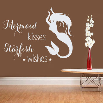 Wall Decal Quote Mermaid Kisses Starfish Wishes Vinyl Decals Art Murals Home Bedroom Decals Interior Design Baby Girl Nursery Decor KY12