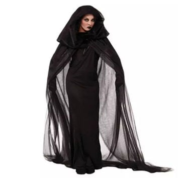 Witch Sorceress Demon Cosplay Costumes Black Mesh Long Maxi Dress and Cloak Gloves Set Halloween Costumes For Women 2016
