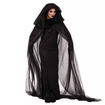 Witch Sorceress Demon Cosplay Costumes Black Mesh Long Maxi Dress and Cloak Gloves Set Halloween Costumes For Women