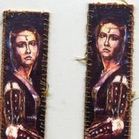 Darkness Renaissance Lady bookmarks with golden thread