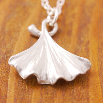 Ginko Leaf Necklace - silver leaf necklace, nature jewelry, baby ginko leaf, ginko leaf pendant, holiday sale