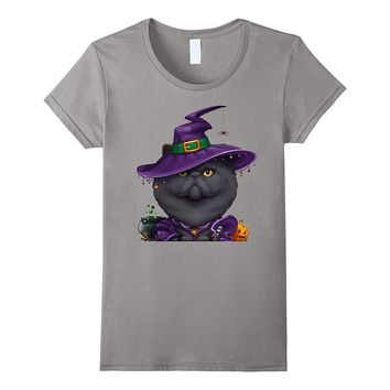 Black Persian Cat Witch Halloween T-Shirt