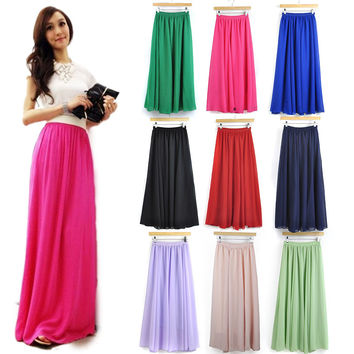 20 Colors High Quality New Fashion Womens Candy Color High Waist Elastic Waist Chiffon Long Maxi Skirts 80/90/100cm Real Photos