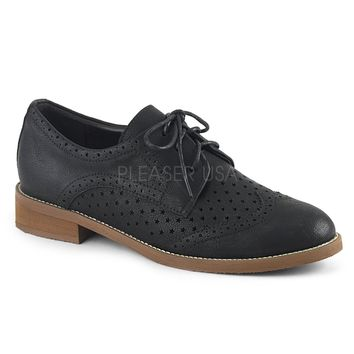 Pinup Couture Hepburn Black Wingtip Oxfords