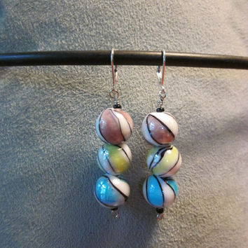 Dangle Earrings   Marble Ceramic Beads and Silver