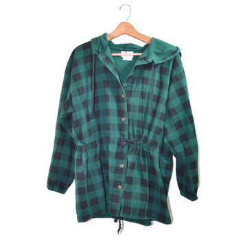 Vintage Plaid Jacket Camp Jacket Green Black Checkered Jacket 80s Plaid Jacket Byer of California