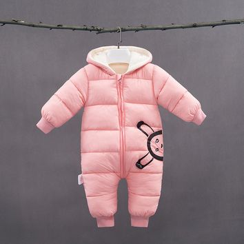 3 Colors Baby winter Overalls Girls Winter Overalls for A Boy Thicken Warm Snowsuit Hooded Baby Winter Clothes Newborn Snowsuit