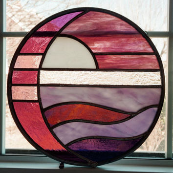 Moon and Sun Over Water Round Stained Glass Panel / Suncatcher - Purple and Pink - Coastal Art - Beach Decor - Sea - Housewarming Gift