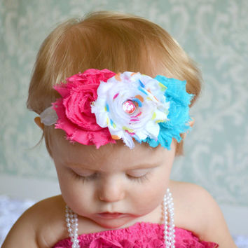Infant Headbands... Girls headband... Birthday Headband... Shabby Flower Trio in Bright Colors