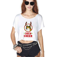Christmas Doge Crop Shirt , Custom Crop Shirt , Woman Crop Shirt