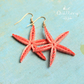 Coral Starfish Summer Earrings / Paper Filigree Quilling Jewelry / Eco Friendly Jewelry