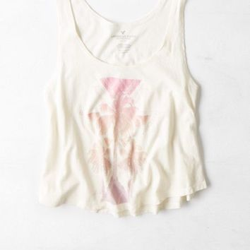 AEO 's Cropped Graphic Tank (Toasted Coconut)