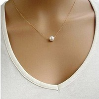 Women's Vogue Street Style Simple Sweet Pearl endant Short Alloy Necklace