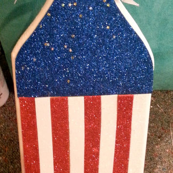 Sparkly America Themed Wooden Sorority Paddle