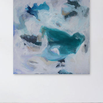 Large White and Turquoise Abstract Painting, 36 x 36