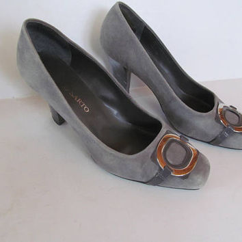 Franco Sarto Shoes Grey Suede Shoes sz 7.5 Grey Heel Shoes with Buckles Gray Leather Shoes sz 7.5