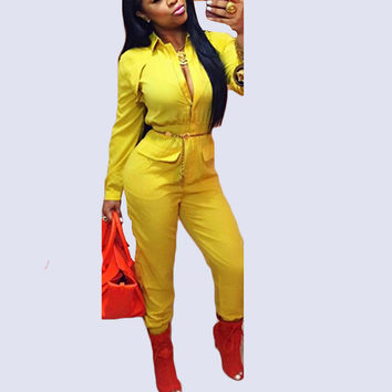 CWLSP Autumn Sexy Rompers Women Jumpsuit Turn down collar Long Sleeve Overalls Pockets Zipper macacao feminino comprido