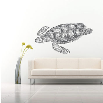 Wall Decal Vinyl Sticker Decals Art Home Decor Design Mural Turtle Tortoise Tortoiseshell Water Sea Animal Swim Fashion Bedroom Dorm AN370