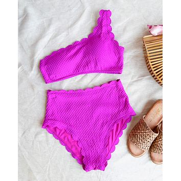sunshine - high waisted two piece scalloped bikini - magenta