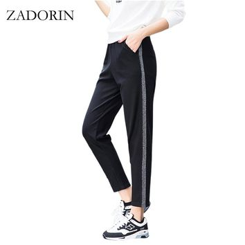 2018 Autumn Joggers Women Silver Striped Sweatpants Ankle Length High Waist Casual Harem Pants Women Trousers pantalones mujer