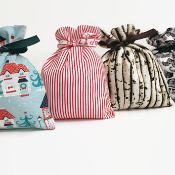 Reusable Fabric Gift Bags with Matching Satin Ribbon Ties, Christmas Goodie Bags Food Safe and Washable...Ready to Ship