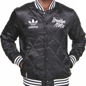 Brooklyn Nets NBA Quilted Satin Jacket by Adidas