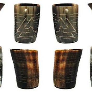 Whiskey Real Horn 8 piece Set of Handicrafted Natural Horn Glass 4-4.5 inch