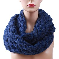Winter Cable Ring Scarf Women Knitting Infinity Scarves Knitted Warm Neck Circle Scarf
