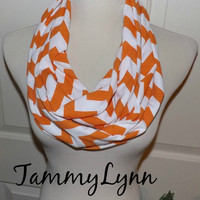 NEW!! Orange Tangerine Pumpkin Fall Chevron Scarves Tennessee Vols Clemson Tigers Auburn Orange Chevron Jersey Knit Infinity Scarf Scarves