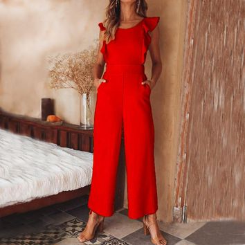 Conmoto 2019 Summer NEW Women Red High Waist Jumpsuit Sexy Backless Bow Ruffle Long Rompers Female Wide Leg Plus Size Jumpsuit