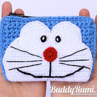 Doraemon crochet wallet with two compartments, Finished item Ready to ship