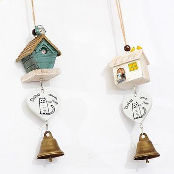 Owl House Wind Chimes Door Ornaments Garden Personality Strap Decoration The Bell Log-cabin Metal Wind Chimes Bell Gift for Kid