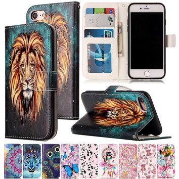 Varnish Relief Leather Case For iPhone 7 Cover Leather Flip Wallet Phone Case For iPhone 7 Plus Mobile Phone Shell