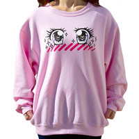 Kira Kira Shoujo Girl Anime Eyes Screenprinted Crewneck Sweatshirt (Unisex S-M-L)