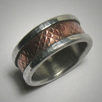 Rustic wedding band for men - custom handmade mixed metalwork men's engagement ring - copper and silver rustic wedding band