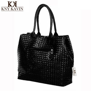 Women PU Leather Shoulder Bags Fashion Big Women's Handbags Woven Tote