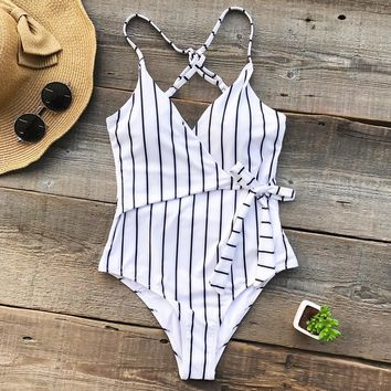 Young Stripe One piece V neck Backless Tied Bow Bathing Suit