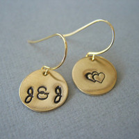 Heart, Valentine Gift, Gold Tone Disc Earrings, Initials, Hearts, Monogram Earrings, Under 25