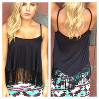 Black Fringe Crop Tank