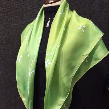 Olive Cherry Blossoms - Hand Painted Silk Scarf / Wrap