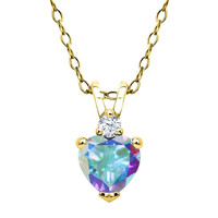 Mystic Topaz and White Topaz 18K Yellow Gold Plated Silver Pendant