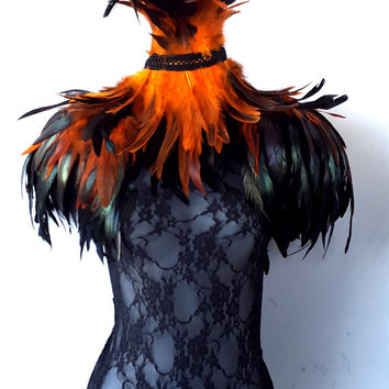 Steampunk feather epaulettes. Large black amber feather shoulder pads & double inverted feather neck corset. Feather cape alternative.