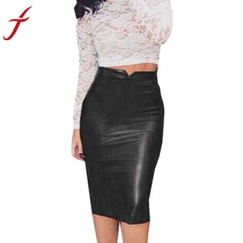 Women's High Waist Faux Synthetic Leather Bodycon Office Skirt