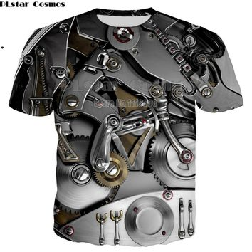Newest T-shirt Punk Clothing cool Clothes Mechanical T shirt Tops women men Tees Funny 3d t-shirt unisex Tee Print large size