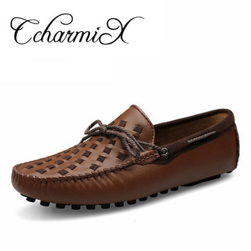Men Causal Shoes Designer Soft Men's Genuine Leather Bow tie Moccasins Driving/Dancing