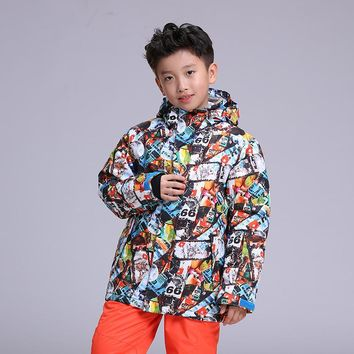 New gsou snow ski suit children's skiing clothes boys' windproof waterproof and warm hiking snowboard jacket