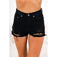 Cute But Crazy Distressed Shorts (Black)